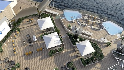 Designed by world-class designer Kelly Hoppen CBE and architect Tom Wright, the Rooftop Garden invites guests day or night to relax or play. Whether it's lounging under one of the shaded seating areas, dancing the night away, or gazing up at the stars as the ship glides over the sea below, the Rooftop Garden offers something for everyone to escape reality.