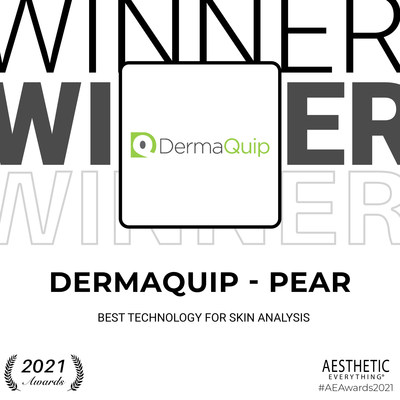 "DermaQuip - PEAR receives ""Best Technology for Skin Analysis"" in the Aesthetic Everything® Aesthetic and Cosmetic Medicine Awards 2021"