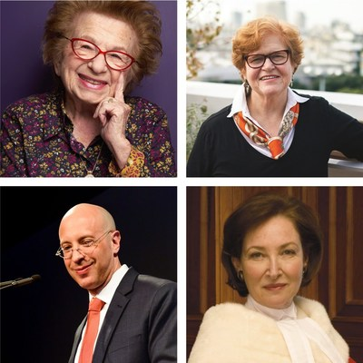 Liberation75 guest speakers will include (clockwise from top-right): Dr. Ruth Westheimer, Dr. Deborah Lipstadt, Rosalie Abella, Elisha Wiesel (CNW Group/Liberation75)