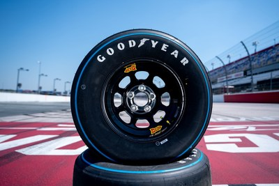 "In keeping with the theme of the Official Throwback Weekend of NASCAR, Goodyear will replace the yellow ""Eagle"" logo on the sidewalls of its racing tires with a vintage ""Blue Streak"" sidewall design. The Blue Streak tires reflect the design of NASCAR tires used in the 1960's and 1970's. (NASCAR images for Goodyear)"