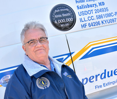 Perdue Farms truck driver Alvin Smith of Robersonville, N.C., is celebrating a milestone – four million consecutive accident-free miles driving professionally for Perdue. He's the first company driver to achieve the milestone, the equivalent of approximately 160 trips around the Earth.