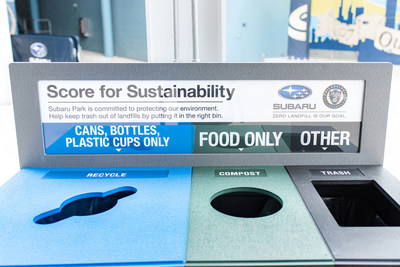 Subaru Park aims to become the first MLS Zero Landfill stadium where no waste is sent to a landfill. Subaru of America and the Philadelphia Union are encouraging fans to help keep waste out of landfills by placing their trash in the corresponding bin.