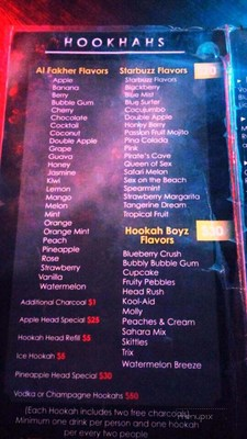 Hookah lounge flavor menu featuring flavors remnicent of vaping flavors such as twix, kool aid, sex on the beach and more