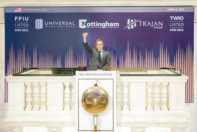The New York Stock Exchange welcomes Nottingham Company, today, Tuesday, April 6, 2021, as it virtually rings The Closing Bell in celebration of the Trajan Wealth Income Opportunities ETF (NYSE Arca: TWIO). (NYSE Bell Ringer: Chris Taylor, Vice President, NYSE Listings and Services) Photo Credit: NYSE