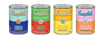 Campbell Canada has launched limited edition Andy Warhol inspired soup cans across Canada. The four distinct labels are available in the Campbell's Condensed Cream of Mushroom Soup and Tomato flavours, and feature a bright, colourful, pop art themed aesthetic. (CNW Group/Campbell Company of Canada)