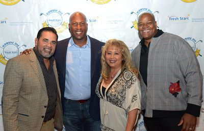 Ozzie Guillen, host Jermaine Dye, CEO of Fresh Start Surgical Gifts Shari Brasher and Frank Thomas at the golf event in 2019.