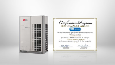 LG Electronics (LG) has been recognized by the Air-Conditioning, Heating & Refrigeration Institute (AHRI) with the Performance Award