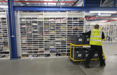 A member of the team in the boohoo group's distribution hub in Burnley